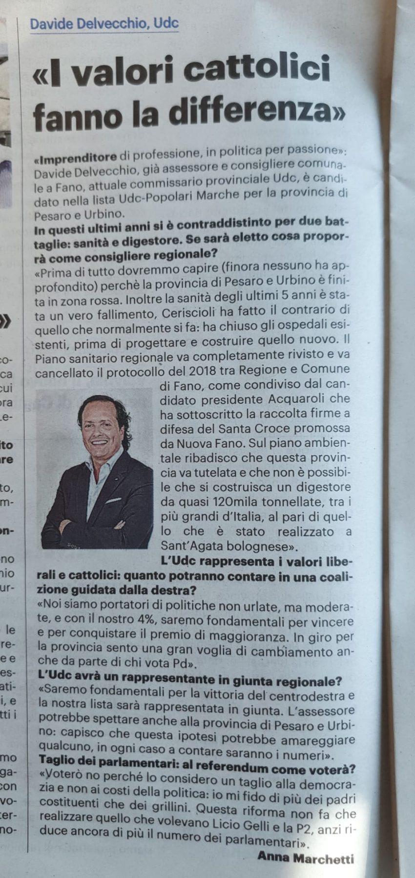 ✅Intervista Il resto del Carlino 15/09/2020  ➡️ I Valori Cattolici fanno la differenza