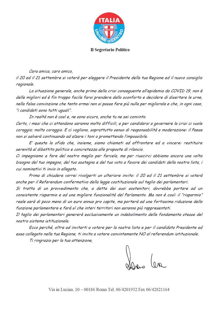Invito al Voto di Lorenzo Cesa segr. naz.le UDC